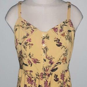 Torrid Yellow Floral Empire Waist Sun Dress 00